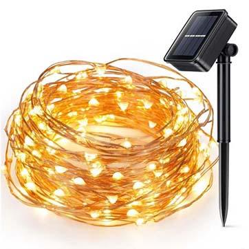 aurinkoenergiaa kuparilangan merkkivalo